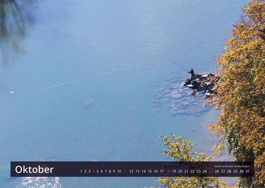 Fischer an Aare, Bern von oben Kalender