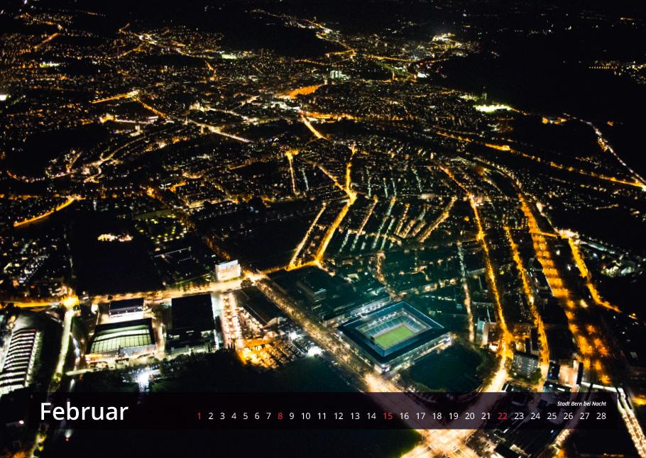 Stadt Bern bei Nacht | Bern von oben-Kalender