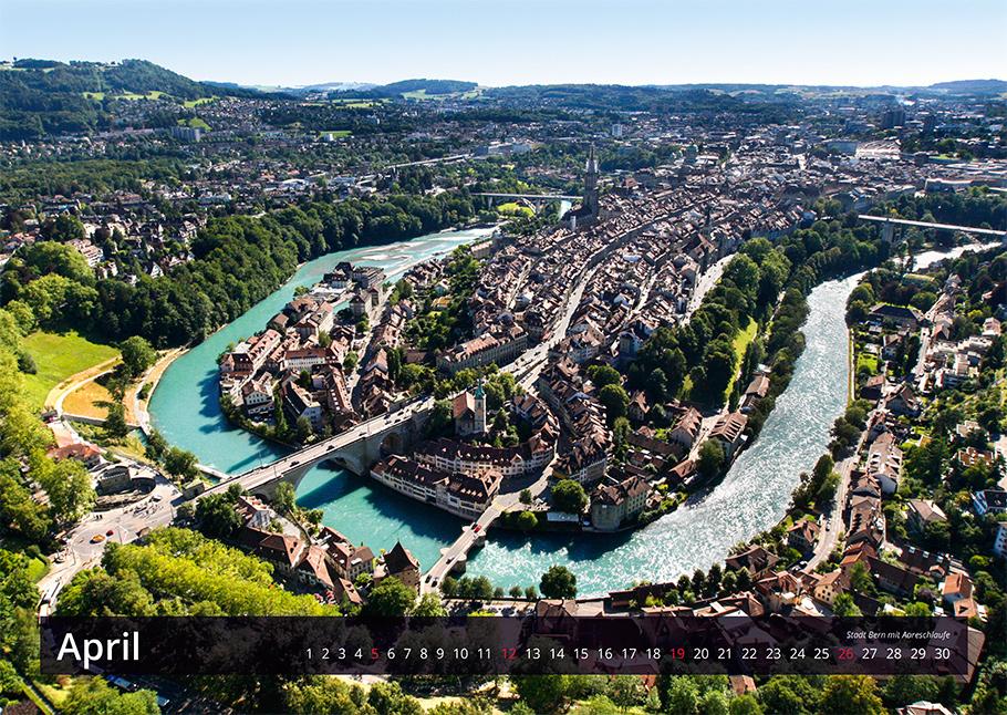 Stadt Bern mit Aareschlaufe | Bern von oben-Kalender